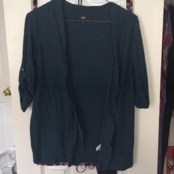 Mossimo Supply Co. Sweaters - Dark Teal Draped Open Cardigan